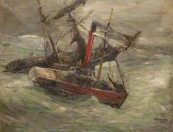 Tug Standing by a Schooner in a Gale