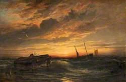 Seascape, Fishermen at Sunset