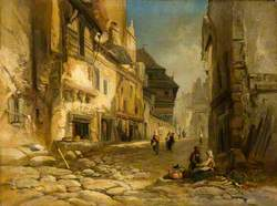 View of a Cobbled Street with Peasants