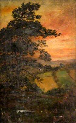 Landscape with a Tree at Sunset