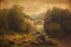 Mountain Scene with Bridge and Waterfall
