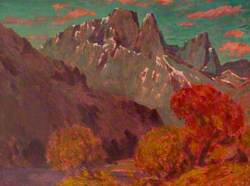 Mountainous Landscape with Trees in the Foreground