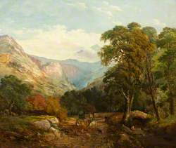 Mountainous Landscape with a Single Arch Stone Bridge