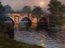 Three-Span Stone Bridge over a River by Moonlight