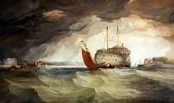Fishing Boat by a Hulk Ship in an Estuary