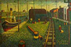 Figure Fishing by a Quayside with a Moored Tug close by and Barrels near a Railway Line