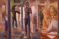 Figures in a Sculpture Gallery