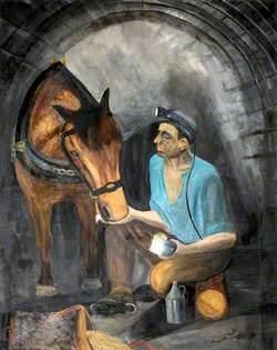 Miner Feeding a Pit Pony