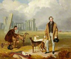 Charles Randell with Greyhounds at Stonehenge