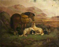 Landscape with Panniered Horse