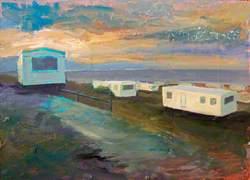 Caravans, Estuary and Sunset