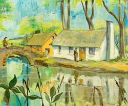 Rural Scene: Two Cottages, Canal (or river), Bridge and Three Figures