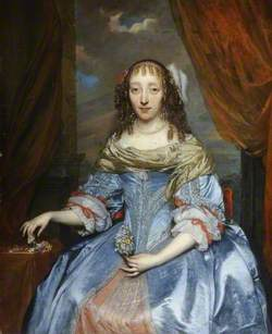 Portrait of a Lady in a Blue Satin Dress