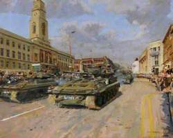 The Regiment Drives Past Barnsley Town Hall Following the Freedom Parade of 1979