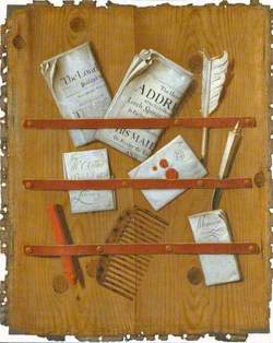 A Trompe l'oeil of Newspapers, Letters and Writing Implements on a Wooden Board
