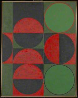 Composition in Red and Green, Squares and Circles
