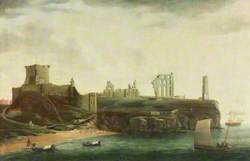 Figures and Bathing Machines in the Bay below Tynemouth Castle
