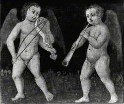 Two Putti Playing Musical Instruments