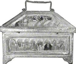 The Virgin and Saint Elizabeth with the Infant Saint John (casket lid, back); The Four Evangelists with Saint Christopher, Saint Anthony Abbot, Saint Liberius (casket, back)