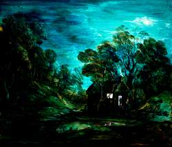 Wooded Moonlight Landscape with a Pool and a Figure at the Door of a Cottage