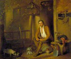A Cottage Exterior: A Seated Labourer Filling His Pipe