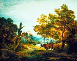 Wooded Landscape with a Herdsman and Two Cows
