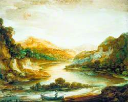 Wooded River Landscape with a Fisherman in a Rowing Boat, High Banks and Distant Mountains