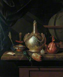 Chained Flask, Brown Teapot and Globe