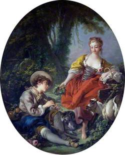 Pastoral Scene: Shepherd with a Pipe and a Girl