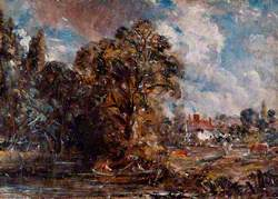 A River Scene with a Farmhouse near the Water's Edge