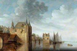 River with a Castle and Shipping