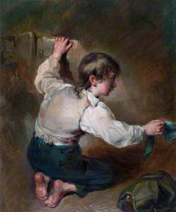 A Kneeling Boy with a Sash