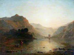 Lake and Mountain Scene with a Boy Fishing