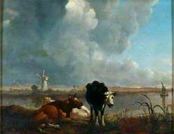 Landscape with Cows Drinking