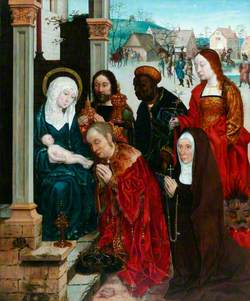 The Adoration of the Magi with Saint Margaret and a Nun