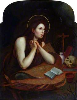 Saint Mary Magdalen Contemplating a Crucifix and a Skull