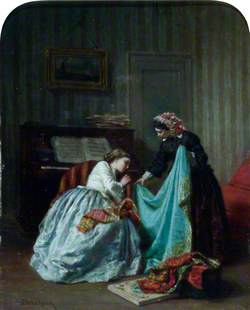 Interior with Two Women Examining Cloth