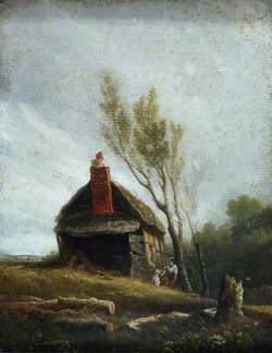 Landscape: A Cottage with Trees and Two Children