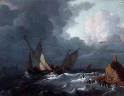 Ships off Shore in a Stormy Sea