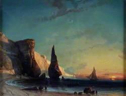 Rocky Coast near Le Havre, Sunset