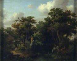Landscape: Cottage by a Brook with a Boy on a White Horse which is Drinking