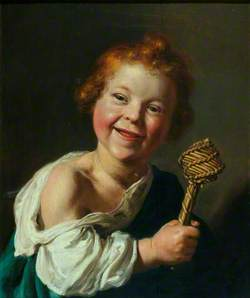 A Laughing Child Holding a Wicker Rattle