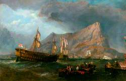 HMS 'Victory' Towed into Gibraltar