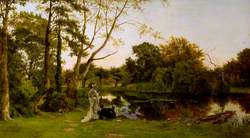 Still Waters: A Lady Fishing and Her Companion Reclining beside Her