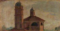 The Upper Section of a Church with a Hexagonal Dome and Two Towers