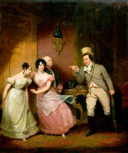 Scene from John Poole's Comedy 'Paul Pry', with Portraits of Madame Vestris, Miss P. Glover, Mr Williams, and Mr Liston
