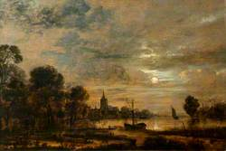 Moonlight and River Scene