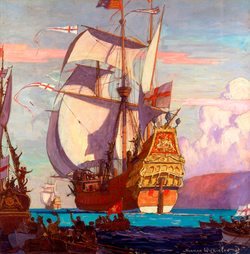 The 'Revenge' Leaving Plymouth to Meet the Armada, from Sir Herbert Beerbohm Tree's Production of 'Drake' by Louis N. Parker