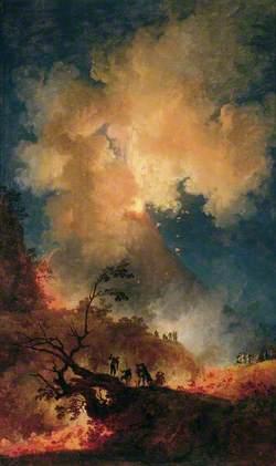 Vesuvius Erupting at Night