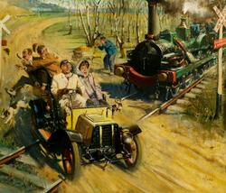 Veteran Crossing a French Railway